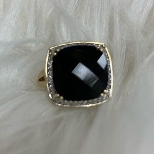 Faceted Onyx and Diamond Ring in 14k Gold